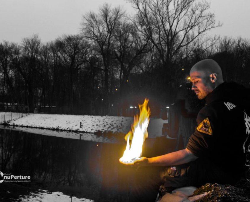 Feuer zu einer Fotosession